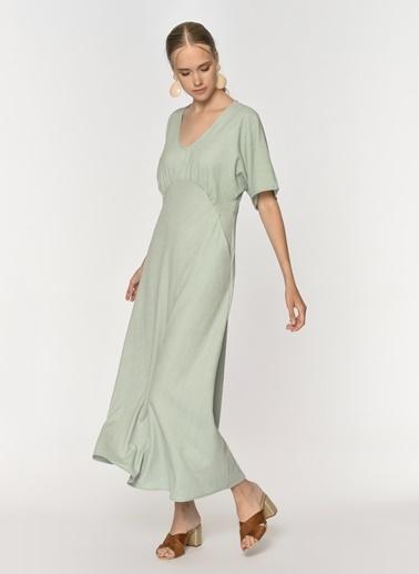 Loves You Krinkıl Düşük Kol Maxi Elbise Yeşil